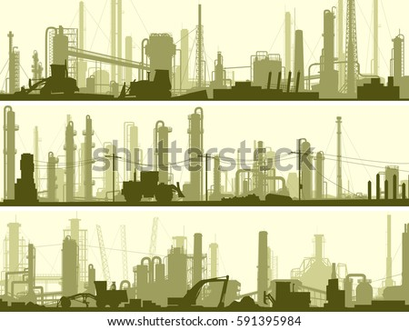 Set of horizontal banners industrial area of city with factories, refineries and power plants.