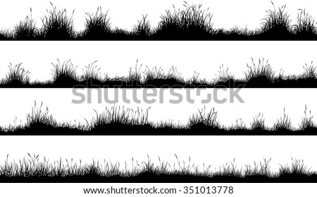Set of horizontal banners of meadow silhouettes with grass.