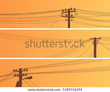 Set of horizontal banners of power line poles with wires on middle voltage transmission (wooden and concrete pillars).