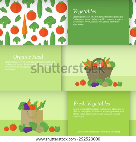 Set of horizontal banners with a basket and a package with vegetables. Flat vector illustration
