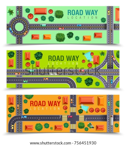 Set of horizontal banners with roadway including crossroads, junctions, vehicles, buildings on color background isolated vector illustration