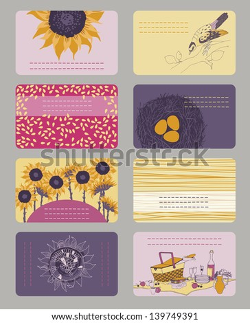 Set of horizontal colourful business cards