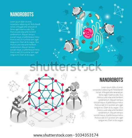 Set of horizontal isometric banners with nano robots, lattice, cell isolated on white turquoise background vector illustration