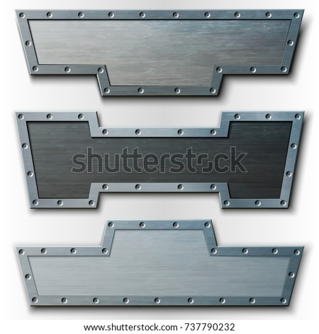 Set of horizontal metal plates. Vector illustration. Can be used as a banner or header.
