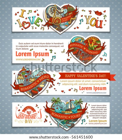 set of horizontal valentine's
