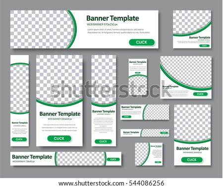 Colorful modern banner templates download free vector art stock set of horizontal vertical and square web banners in standard sizes templates with a maxwellsz