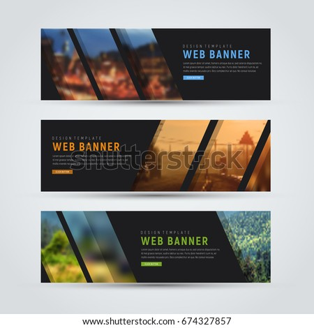 Set of horizontal web banners. Black templates of standard size with diagonal stripes for a photo. Vector illustration. #674327857