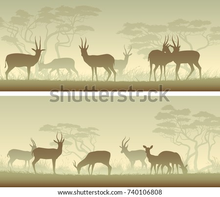 Set of horizontal wide banners of herd antelope in African savanna in green tone.