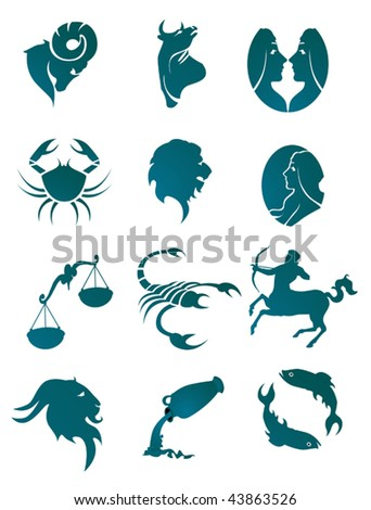 Set of horoscope symbols for design isolated on white - also as emblem or logo template. Jpeg version is also available