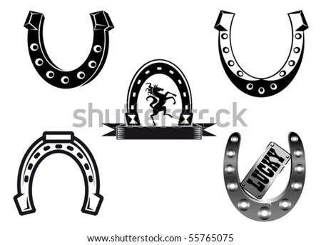 Set of horseshoes elements for design - also as emblem or logo template