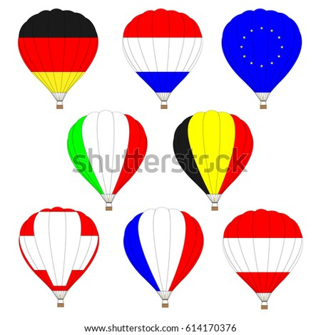 Set of hot air balloon with flag on it.