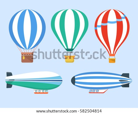 Set of hot air balloons and blimps, vector illustration.