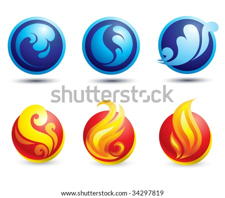 Set of hot fire and water web icons