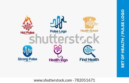 Set of Hot Pulse logo, Pulse symbol, Health Bread logo, Strong pulse, Pulse Search logo designs concept