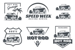 Set of Hot Rod logo, emblems and icons. Roadster and coupe illustration isolated on white background.