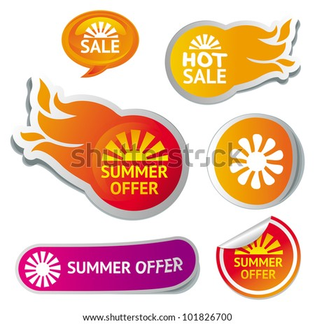 set of hot summer sale stickers - vector illustration