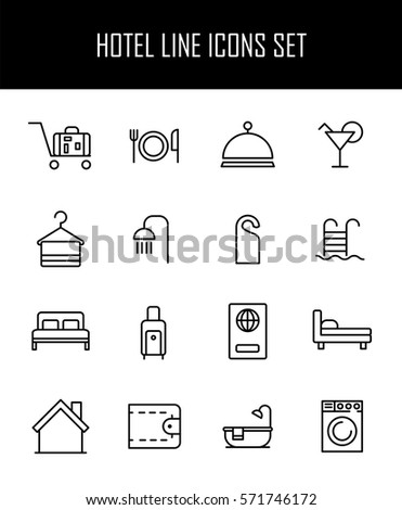 Set of hotel icons in modern thin line style. High quality black outline travel symbols for web site design and mobile apps. Simple hotel pictograms on a white background. #571746172