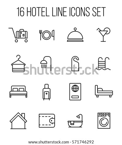 Set of hotel icons in modern thin line style. High quality black outline travel symbols for web site design and mobile apps. Simple hotel pictograms on a white background. #571746292
