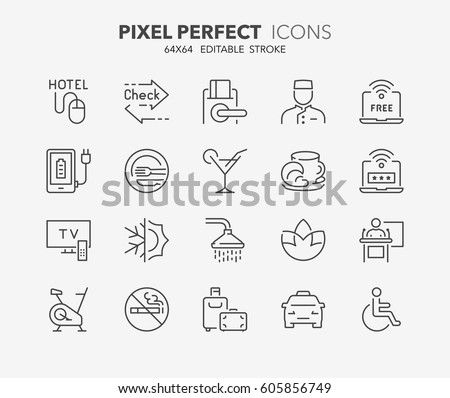 Set of hotel service amenities thin line icons. Contains icons as express check in-out, key card, conference hall, no smoking, accessibility and more. Editable vector stroke. 64x64 Pixel Perfect.