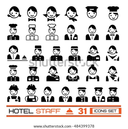 Set Of Hotel Staffs Icons