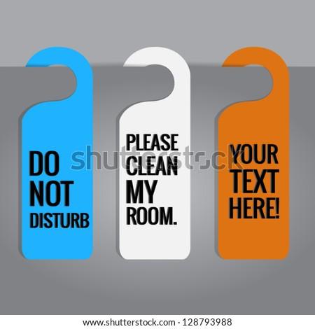 Set of hotels door hanger tags.