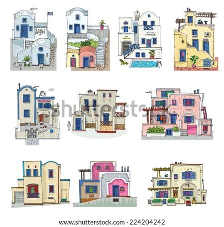 set of hotels on santorini