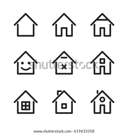 Set of house and home icon. Vector Illustration.