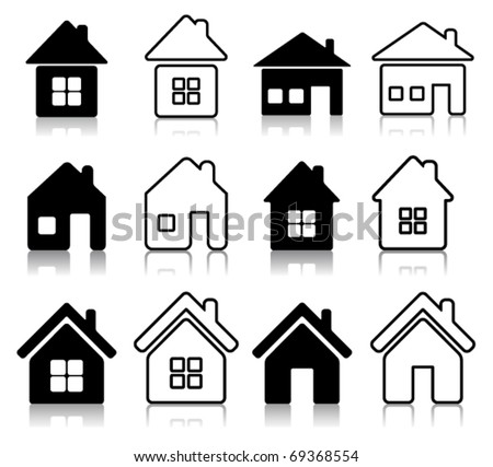 Set of 12 house icon