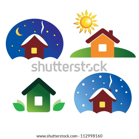 set of house icons different season and weather