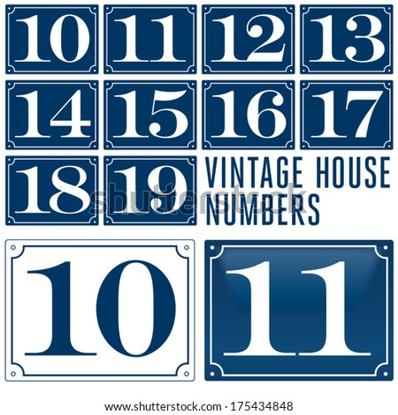 Set of house numbers. Two digit Number plates.