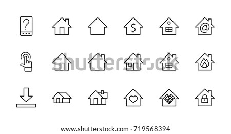 set of house vector line icons