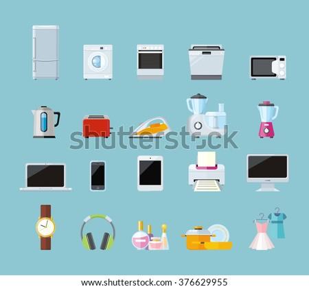 Set of household appliances design flat. Appliances household, household items, washing machine, kitchen appliances, appliance home, machine and equipment, refrigerator and microwave illustration