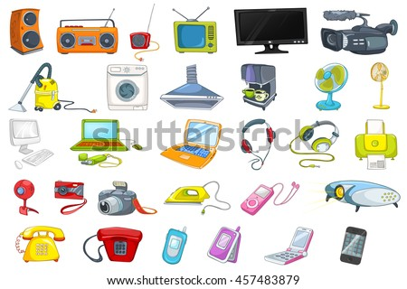 Set of household appliances, electronic devices, gadgets and computer equipment. Set of vacuum cleaner, laptop, iron, fan, radio, camera and other. Vector illustration isolated on white background.