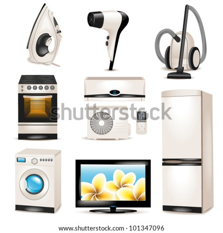 Set Of Household Appliances Icons Stock Vector 101347096 ...