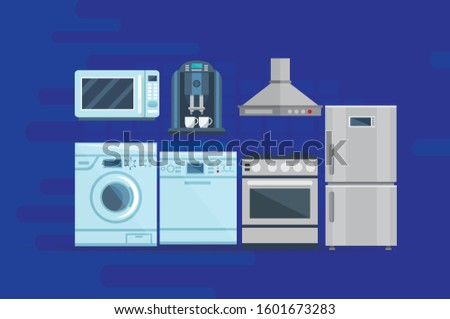 Set of household, home appliances, washing machine, microwave, Tea maker Kitchen technics in the new apartments vector Illustration