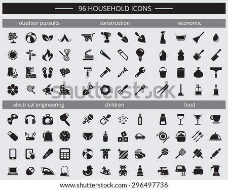 set of 96 household icons  rest