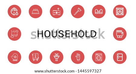 Set of household icons such as Water heater, Wipes, Freezer, Plunger, Gloves, Cooling system, Hand glove, Sink, Glove, Washing machine, Fridge, Sponge , household