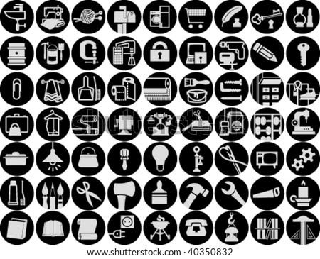Set of household symbols