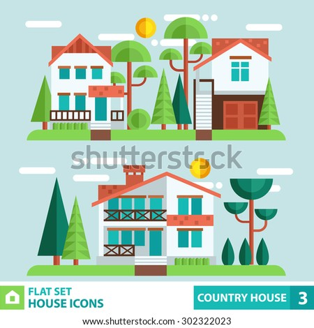 set of houses and plants in a