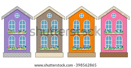 set of houses cartoon home