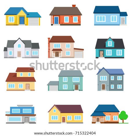 set of houses front view