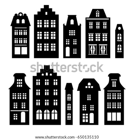 set of houses in black and...