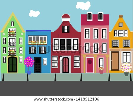 SEt of houses. Street. Outdoors. Vector. #1418512106
