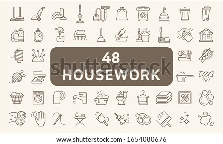 Set of 48 housework and cleaning icons line style.  Contains such Icons as household chores, skein, broom, vacuum, wastebasket, Trash Can, liquid soap, cleaning tool and other elements. Stock photo ©
