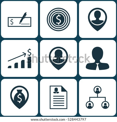 Set Of 9 Hr Icons. Can Be Used For Web, Mobile, UI And Infographic Design. Includes Elements Such As Money Navigation, Employee Location, Manager And More.