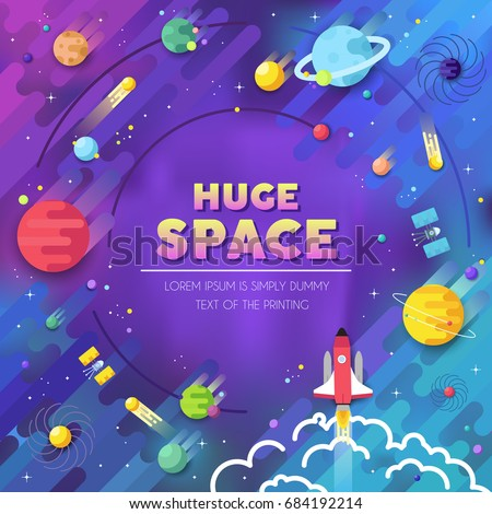 stock-vector-set-of-huge-universe-infographic-illustration-outer-space-rocket-flying-up-into-the-solar-system