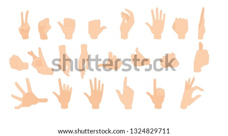Set of human cartoon hands showing various gestures.