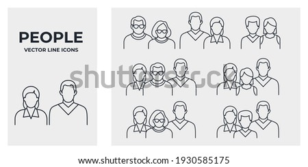 Set of Human Group Icon. people family pack symbol template for graphic and web design collection logo vector illustration Photo stock ©