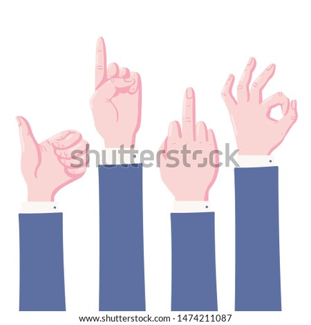 Set of human hands showing gestures - thumb up, pointing index finger, middle finger and okey sign, flat cartoon vector illustration isolated on white background