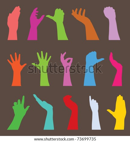 set of 15 human hands